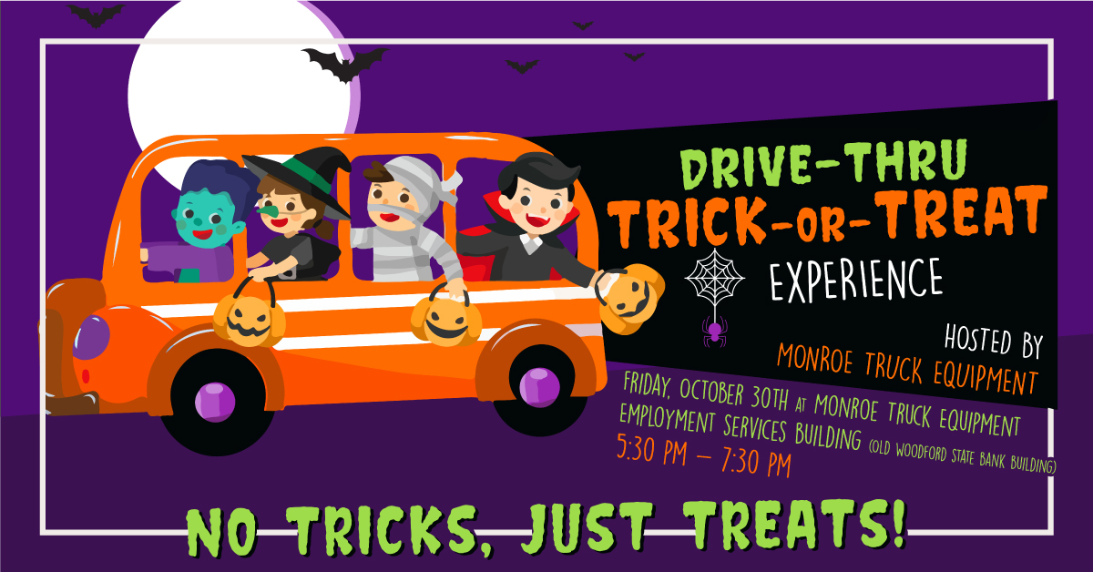 Calling all Trick-or-Treaters! Monroe Truck Equipment hosts a no contact drive-thru Trick-or-Treat event!